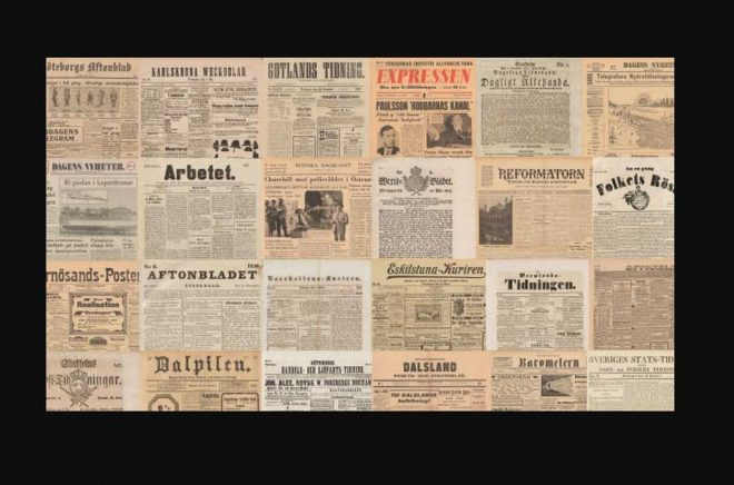 Nu kommer du åt allt material i tjänsten Svenska dagstidningar hemifrån. Det är möjligt tack vare ett tillfälligt avtal mellan Kungliga biblioteket (KB) och upphovsrättsorganisationen Bonus Copyright Access. Foto: KB.