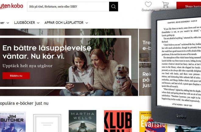Kobo släpper en ny budhetmodell, Kobo Nia, i flera länder den 21 juli 2020. Dessutom lanseras prenumerationstjänsten Kobo Plus i Kanada. Skärmdump och montage: Boktugg.