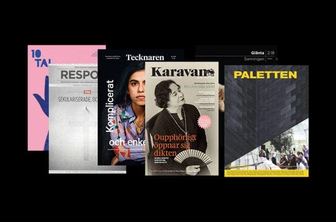 Några av alla de 81 kulturtidskrifter som får produktionsstöd från Kulturrådet.