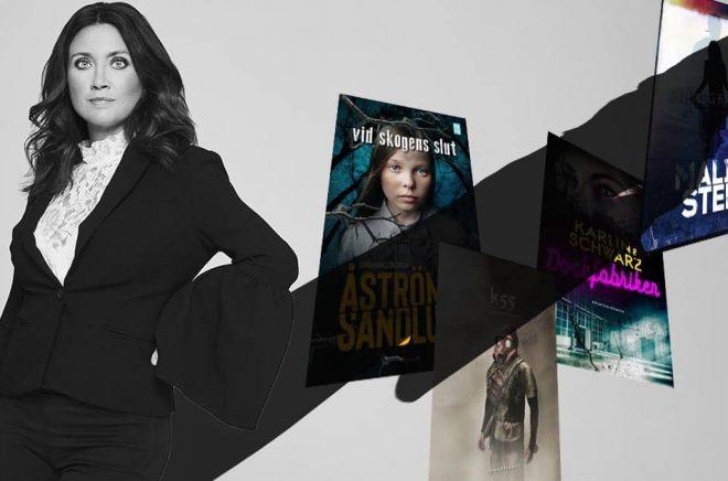 I skuggan av Camilla Läckberg släpptes flera böcker den 13 maj. Foto: Magnus Ragnvid. Montage (inkl skugga): Boktugg.