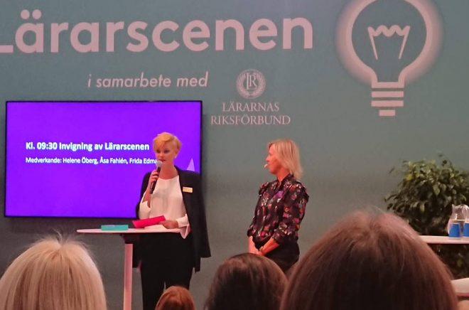 Frida Edman inviger Lärarscenen på Bokmässan 2018. Foto: Boktugg.