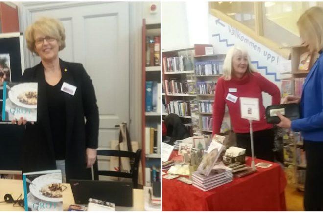 Lilla bokmässan i Bollnäs, 21 oktober 2017. Kokboksförfattaren Viola Adamsson, novellförfattaren Carina Aynsley och bokhandlaren Karin Helin. Foto: Alwa Woxlin