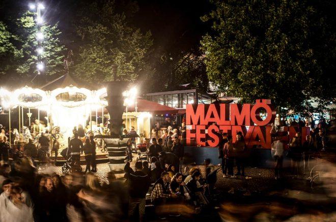 Malmö, Sweden - August 19, 2016: A night shot of