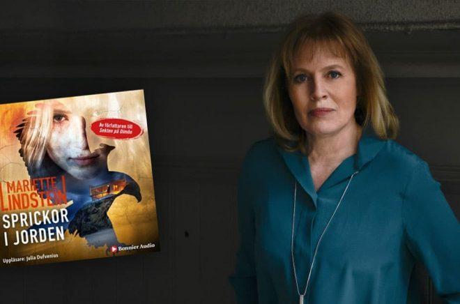Författaren Mariette Lindstein och hennes nya bok som just nu inte är tillgänglig på Storytel. Foto: Adde, Halmstad.