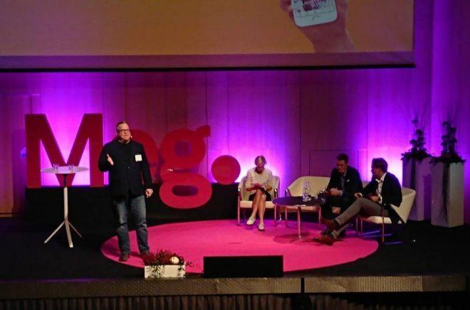 Keynote med Eric Nuzum, Audible följt av en paneldebatt med Håkan Rudels och Jonas Tellander, ledd av Tove Leffler på Meg 2017. Foto: Boktugg