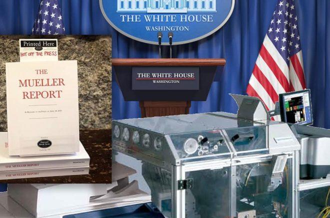 Indiebokhandlare drog nytta av sina Espresso Book Machines och kunde redan samma dag som The Mueller Report släpptes trycka och sälja dem i bokhandeln. Bakgrundsfoto: iStock. Infällda bilden: Harvard Bookstore. Bild på Espresso Book Machine från tillverkaren On Demand Books.