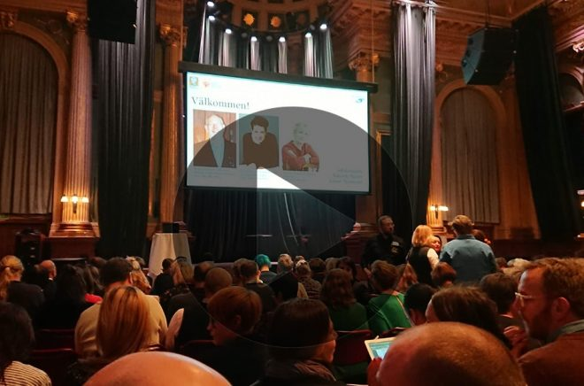 Live från Nalen. (Foto från förra årets branschdag, fotomontage av Boktugg)