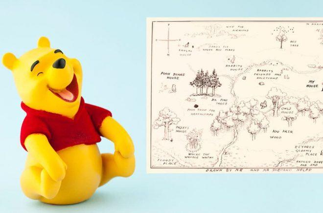Originalteckningen till den karta som pryder insidan av böckerna om Nalle Puh har sålts för rekordbelopp på auktion. Bakgrundsfoto: iStock.
