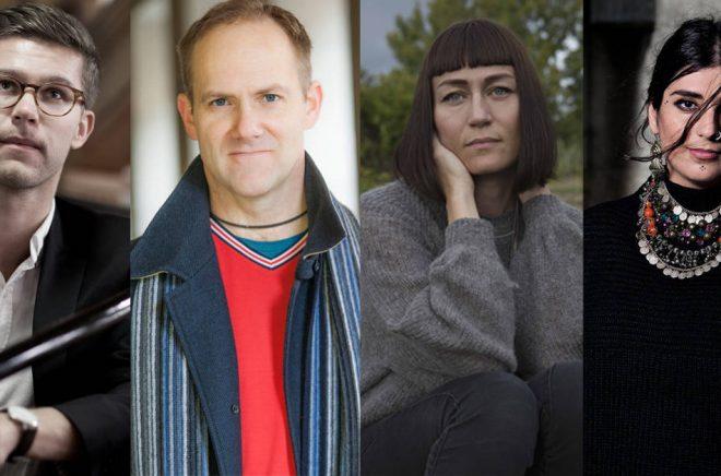 Debutanter i mars 2018, fr v: Philip Birk (fotograf: Hans Jonsson), Ulf Bergström (fotograf), Carolina Setterwall (fotograf Sara Mac Key) och Balsam Karam (fotograf  Magnus Liam Karlsson).