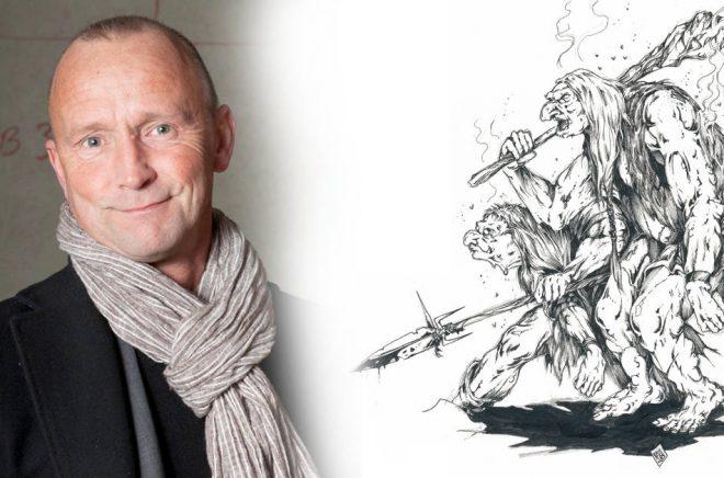 Nils Gulliksson, illustratören och spelutvecklare. Foto: Ylva Bergman. Teckningen till höger är troll ur Monsterboken (1985). Original (med underliggande blyertsskissning synlig).