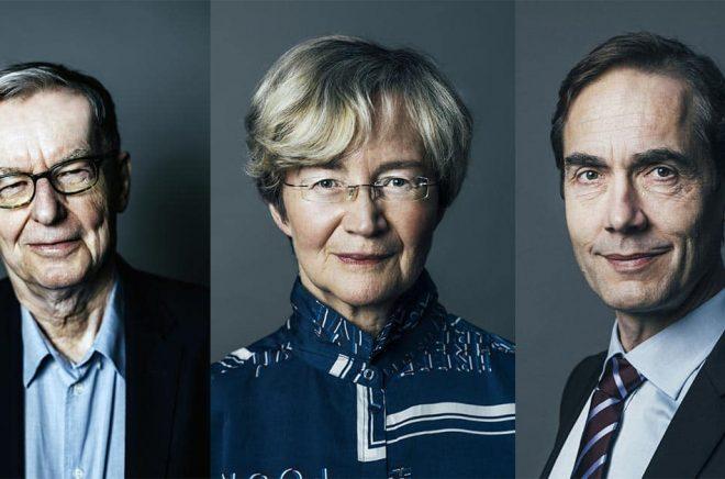 Tre av de sex ledamöterna i Nobelkommittén Anders Olsson (ordförande), Ellen Mattson och Mats Malm (adjungerad). Foton: Rickard L. Eriksson.