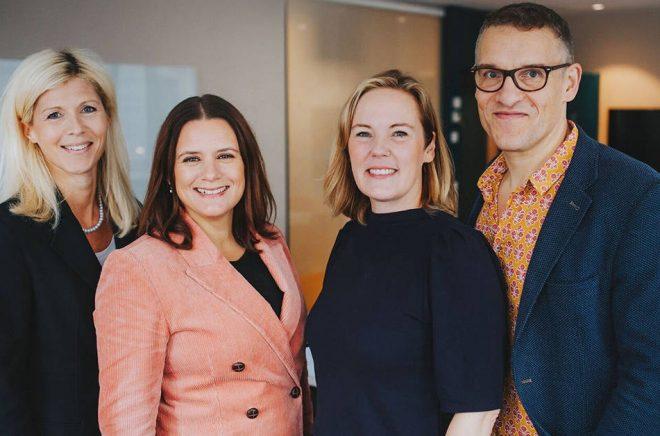 Printz Publishing får ny ägare och ingår framöver i Norstedts förlagsgrupp. Linda Säresand, operativ chef Norstedts Förlagsgrupp, Anna Levahn och Pia Printz, Printz Publishing och Otto Sjöberg, vd Norstedts Förlagsgrupp.