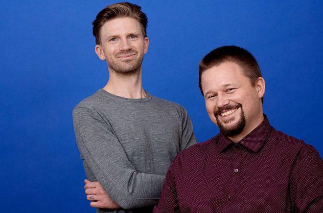 Illustratören Karl Johnsson och författaren Oskar-Källner ligger bakom nya barnboksserien Imperiets arvingar. Foto: Magnus Liam Karlsson.