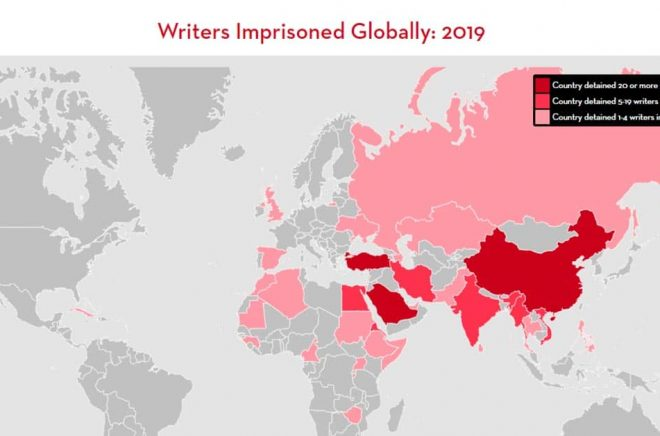 Världskarta med PEN Americas Freedom to Write Index 2019.