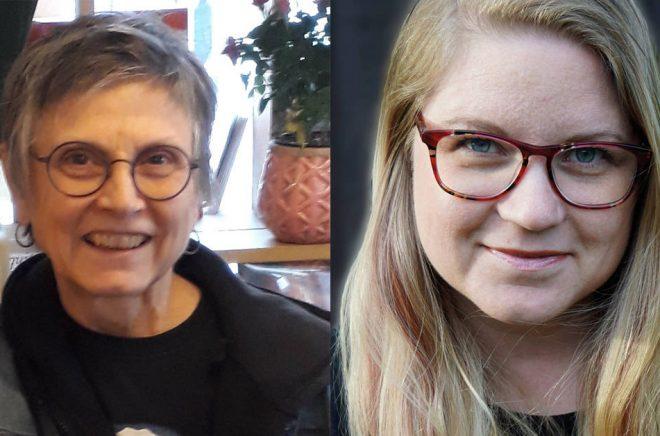 Författarna Rhuddem Gwelin och  Cecilia Larsson Kostenius lärde känna varandra på Swecons Fantastika.