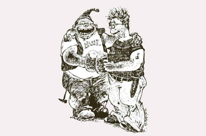 Socker-Conny till vänster kommer inte att jobba på Kartago, det kommer däremot Rolf Classon att göra. Teckning: Joakim Pirinen.