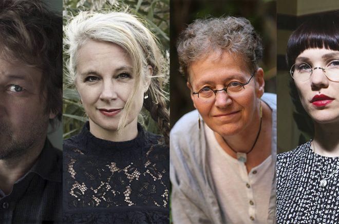 De fyra nominerade till Sveriges Radios romanpris 2019, fr v: Tomas Bannerhed (foto: Sofia Runarsdotter), Sara Stridsberg (foto: Irmelie Krekin), Lena Einhorn (foto: Agneta Åkesson) och Lyra Koli Foto: Matti Koli.