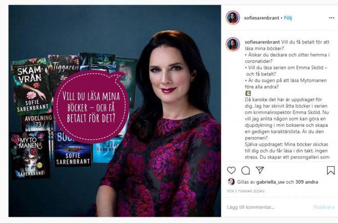 En platsannons på Instagram. Deckarförfattaren Sofie Sarenbrant söker en deckarläsare som vill kartlägga hennes persongalleri.