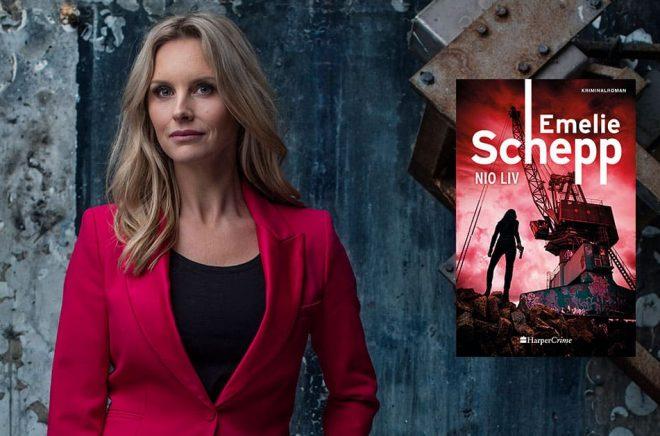Deckarförfattaren Emelie Schepp slöpper en ny bok i november 2020. Men redan nu går det att beställa den. Foto: Thron Ullberg. Montage: Boktugg.