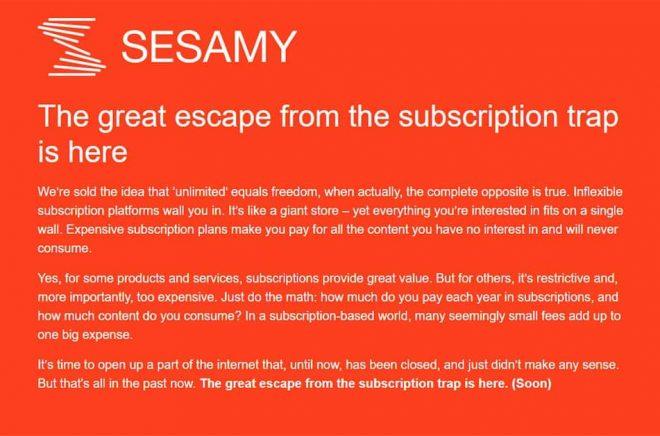 Bakom Sesamy står Måns Ulvestam, Karl Rosander och Markus Ahlstrand, IT-entreprenörer sedan millenieskiftet. Trion ligger bakom bland annat världens ledande podcastplattform Acast. Skärmdump.