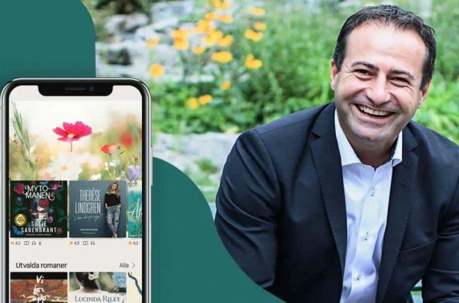 Så här glad blir man över att kunna visa nästan dubblad omsättning för andra kvartalet. Shadi Bitar är VD och grundare på Nextory. Foto: Pressbild.