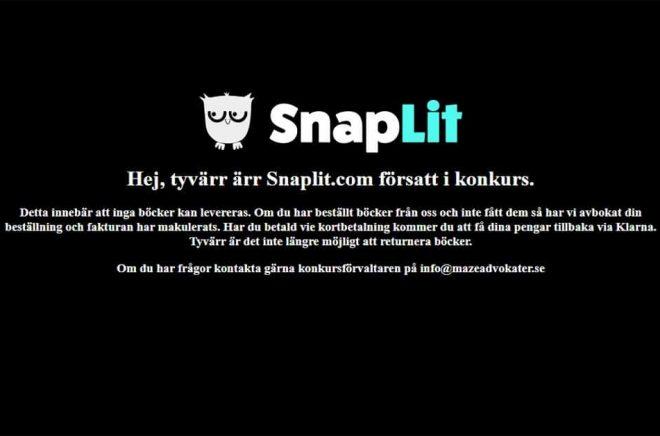 Så här ser den tidigare nätbokhandeln Snaplit.com:s hemsida ut efter att bolaget bakom gått i konkurs.