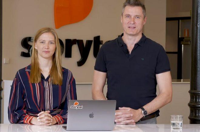Sofie Zettergren, CFO och Jonas Tellander, CEO, presenterar Storytels kvartalsrapport. Foto: Storytel.