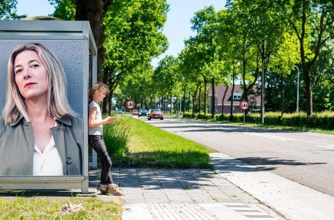 Marie Pettersson, förläggare på Ellerströms förlag. Foto: Carolina Wiehe Welroos. Bakgrundsfoto: iStock. Montage: Boktugg.