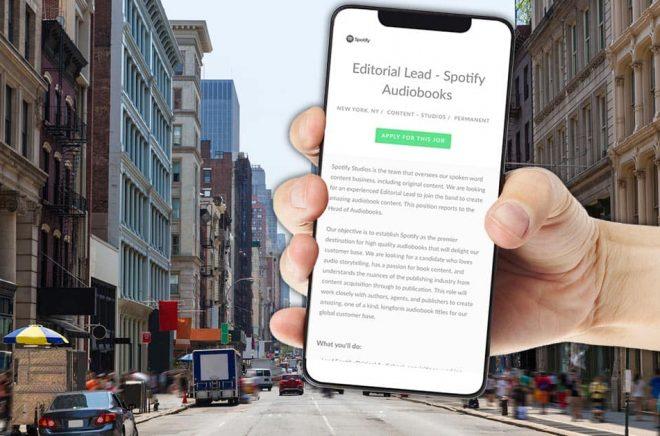 Editorial Lead för Spotify Audiobooks heter det i en platsannons, en tjänst som är stationerad i New York. Foto: iStock. Montage: Boktugg.