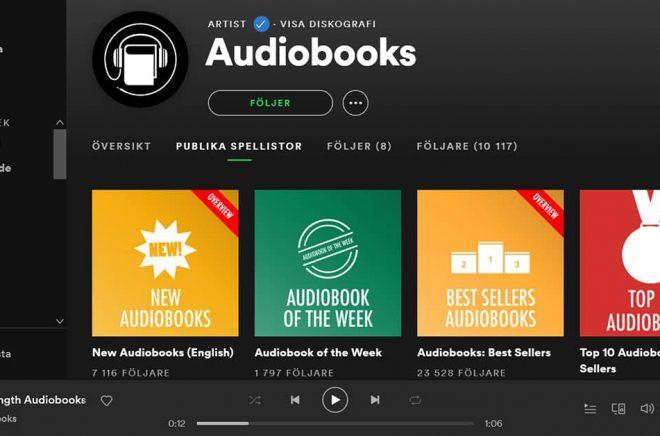 Så här ser artisten Audiobooks ut på Spotify. Med spellistor som omfattar första kapitlet i en rad böcker har musikjätten gjort det möjligt att lyssna på ljudböcker efter lite trixande. Skärmdump: Boktugg.