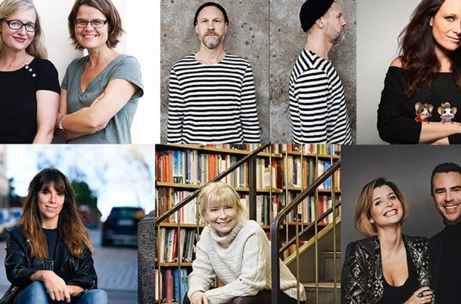 Författare och illustratörer som deltar i Stora Barnboksdagen 2019. Foto: pressbild.
