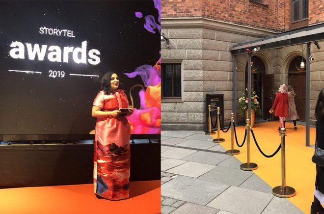 Tara Moshizi var konferencier och ledde Storytel Awards-galan den 4 april 2019 när Årets bästa ljudböcker belönades inför 350 inbjudna gäster. Foto: Storytel.