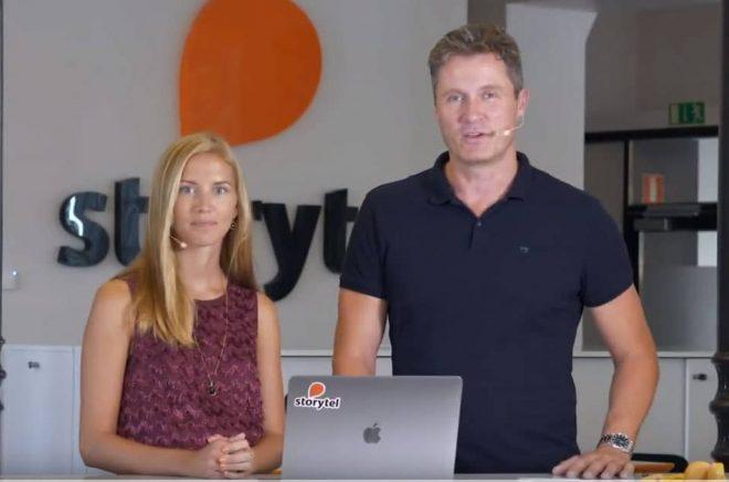 Sofie Zettergren, CFO och Jonas Tellander, CEO på Storytel. Foto: Storytel