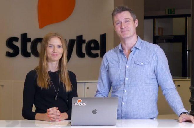 Sofie Zetterberg, CFO och Jonas Tellander, CEO, presenterar nya siffror för Storytels tillväxt. Foto: Storytel.