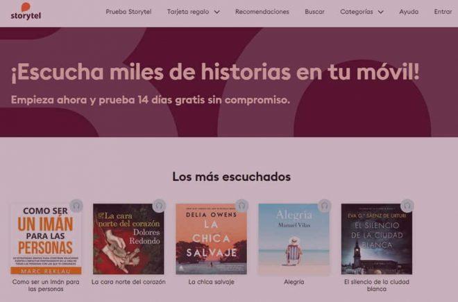 Spanska Storytel får klara sig utan hundratals titlar från spanska förlag som ingår i Penguin Random House (som i sin tur ägs av Bertelsmann). Bild: Skärmdump från Storytel.es