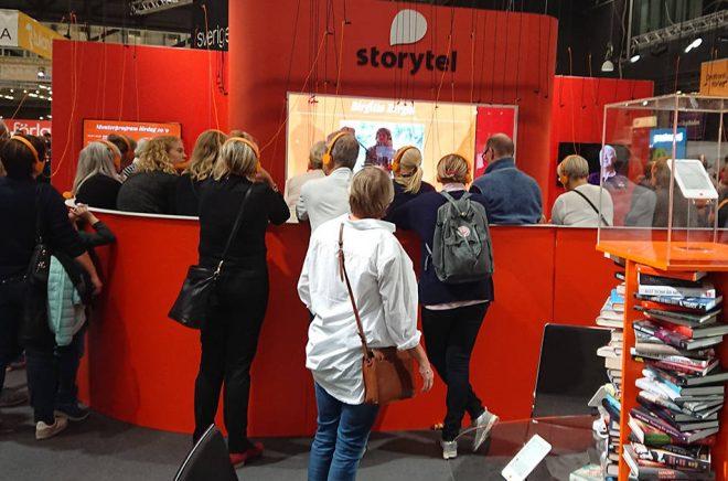 Storytels monter på Bokmässan 2018 var välbesökt. Foto: Sölve Dahlgren.