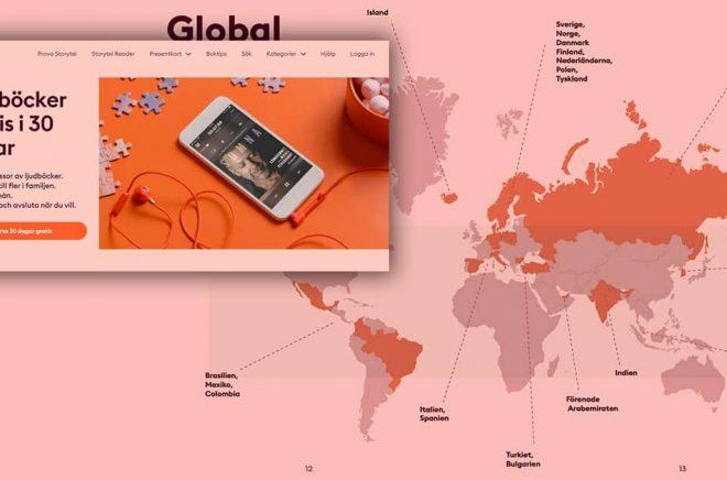 Storytel har det senaste året fått 320 000 nya betalande kunder. Nu utökar man den gratis provperioden från 14 till 30 dagar. Karta från Storytels årsrapport. Skärmdump från Storytels hemsida. Montage: Boktugg.