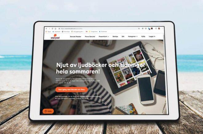 På sommaren läser svenskarna mycket böcker och tidningar. Nu lanserar Storytel sitt kombinerade erbjudande med appen Ztory. Bakgrundsfoto: iStock. Montage: Boktugg.