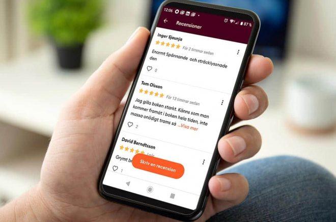 Nu kan läsarna återigen recensera böcker direkt i appen på Storytel. Men det är inte längre anonymt. Foto: iStock. Fotomontage: Boktugg.