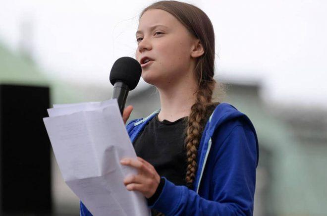 Greta Thunberg i maj under ett tal i Kungsträdgården i Stockholm i maj. Foto: Janerik Henriksson/TT.