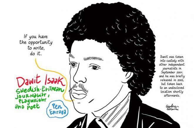Bokmässan kommer på måndagen att skicka en inbjudan till journalisten Dawit Isaak, som har suttit fängslad i Eritrea i 18 år utan rättegång. Illustration: Gianluca Costantini.