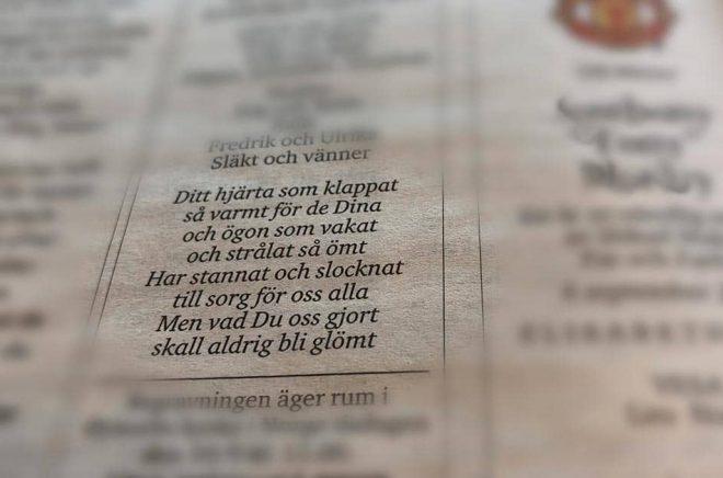 Upphovspersonerna till dikter i dödsannonser har länge varit utan ersättning, men nu har ett avtal slutits som ska ge poeterna ersättning. Foto: Ann Edliden/TT.