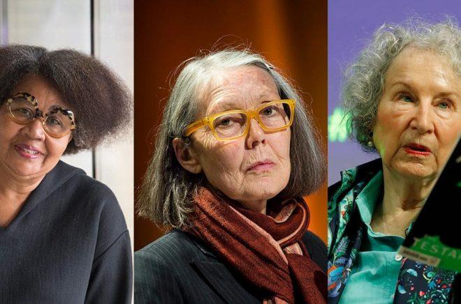 Tre kvinnliga författare nämns som kandidater till årets Nobelpris i litteratur: Jamaica Kincaid (foto: Fredrik Sandberg/TT), Anne Carson (foto: Pontus Lundahl/TT) och Margaret Atwood (foto: Alastair Grant/AP/TT).