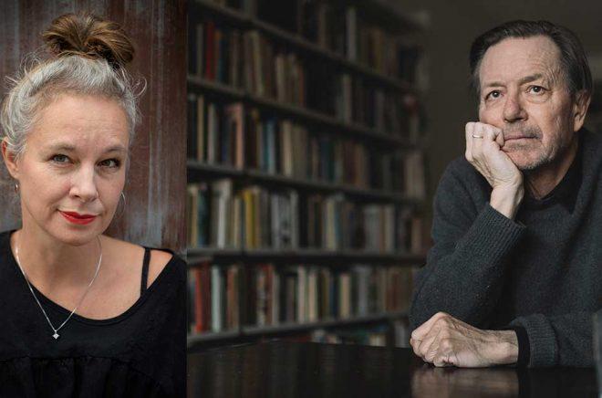 Sara Stridsberg (t v) har skrivit en barn- och ungdomsroman med Sara Lundberg, som tippas bli Augustprisnominerad. Arkivbild: Jessica Gow/TT. Många kritiker tror att Steve Sem-Sandberg (t h) blir nominerad med romanen