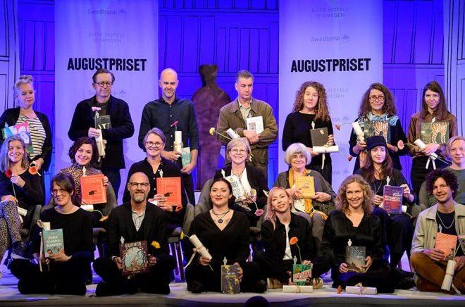 Gruppbild på de nominerade till Augustpriset 2019. Foto: Anders Wiklund/TT.
