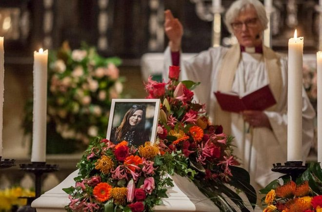 Ärekbiskop Antje Jackelén höll i begravningen. Pressbild: Christoffer Edling.