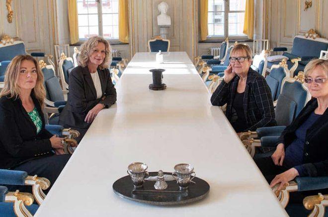Den 20 december träder Anne Swärd, Åsa Wikforss, Tua Forsström och Ellen Mattson in i den Svenska Akademien. Foto: Fredrik Sandberg/TT.