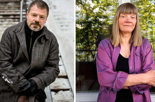 Författarna Kristoffer Leandoer och Gun-Britt Sundström lämnar Nobelkommittén. Arkivbild: Dan Hansson/SvD och Christine Olsson/TT.