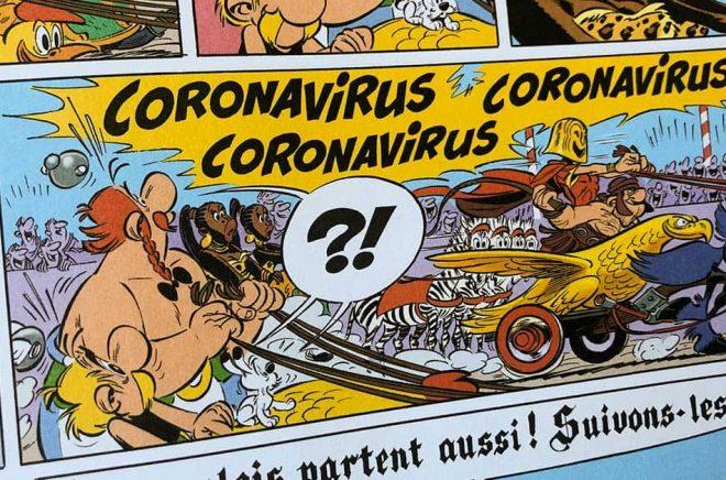 När den nye Asterix-tecknaren Didier Conrad och manusförfattaren Jean-Yves Ferri år 2017 gjorde albumet Asterix och det stora loppet kunde de knappast ana hur ökänt en av huvudpersonernas namn skulle bli några år senare. I albumet är Coronavirus en romersk vagnåkarstjärna. Tecknare: Didier Conrad