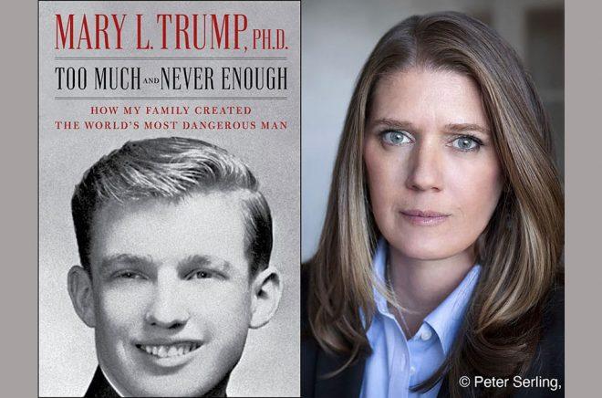 Bokomslaget till den amerikanska utgåvan av Mary Trumps bok till vänster, författaren till höger. Pressbild: Simon & Schuster/AP/TT.